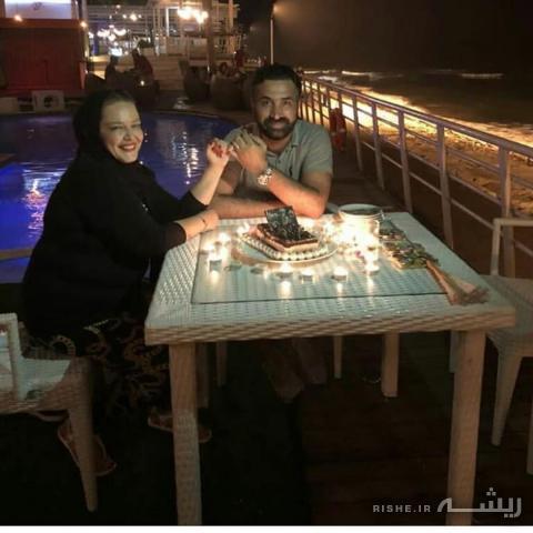 عکس عاشقانه بهاره رهنماو شوهرش کنار استخر