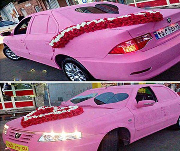 عکس/ ماشین عروس صورتی
