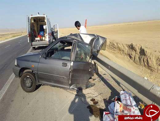 عکس/ نصف شدن پراید در تصادف با گاردریل