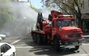 فیلم/ ضدعفونی شهر بدست آتش نشانی