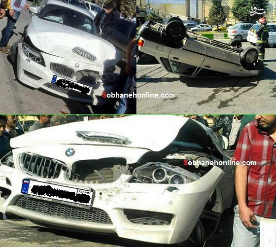 عکس/ تصادف شدید پراید و BMW لوکس