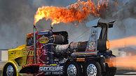 فیلم/ انفجار موتور کامیون حین مسابقه!
