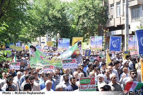 حضور مردم سیل زده شهرستان آق قلا در راهپیمایی روز قدس + تصاویر