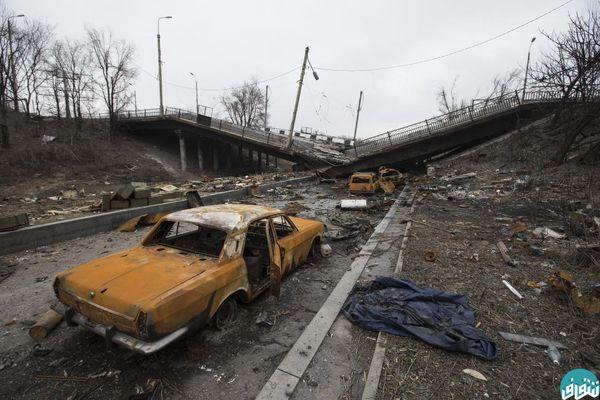 عکس ویرانی پل و نابودی چند ماشین