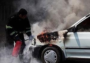 آتش سوزی خودرو در گرگان