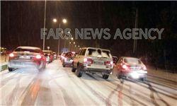 بارش شدید برف در گرگان/ ترافیک سنگین و لغزندگی محور ناهارخوران+عکس