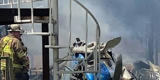 فیلم/ آتشسوزی در محل سقوط هواپیما در آمریکا