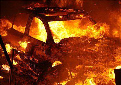 فیلم /آتش گرفتن خودرو و مرگ راننده پس از وقوع تصادف